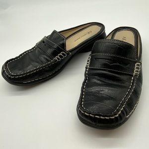 Anne Klein BLack Leather Flat Clogs 6.5